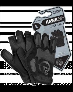 Rękawice ochronne taktyczne Hawk czarne, bez końcówek na palcach.